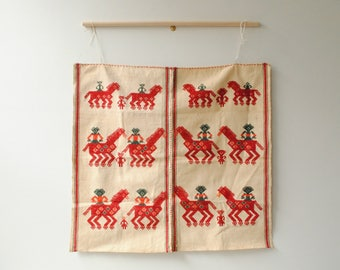 Vintage Guatemalan Wall Hanging Textile, Red and White Embroidered Weaving, Horse Textile
