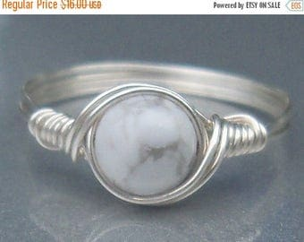 25% Off Sale White Howlite Argentium Sterling Silver Wire Wrapped Ring