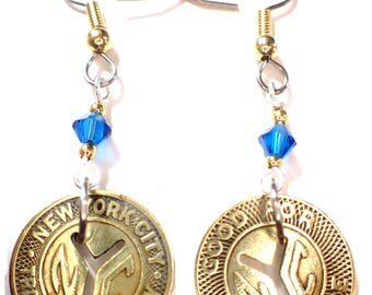 NYC Transit token earrings w colored crystals Small vintage token from thr 50's