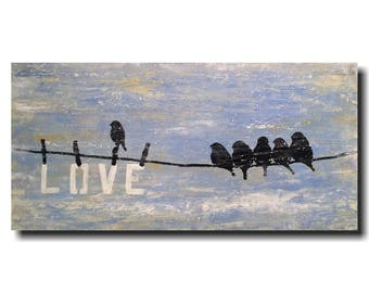 original art abstract painting 18 x 36 by jmjartstudio blue textured bird artwork