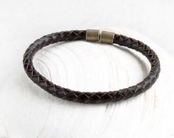 Braided Leather Bracelet, Braided Leather Bangle Bracelet (many color to choose)