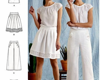 Sailor Pants Pattern, Shorts Pattern, Skirt Pattern, Pullover Top Pattern, Short Sleeve Blouse Pattern, Simplicity Sewing Pattern 8391