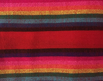 Ethnic Mexican Colorful Red Striped Fabric Yard Cambaya