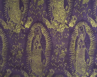 Virgen de Guadalupe Mexican Religious Fabric Pattern Purple