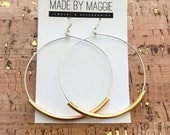 """Joanna Gaines Jewelry - Large Hoop Earrings - 2 1/4"""" Sterling Silver Hoops  -  full circles with french hooks - silver, gold or antique gold"""