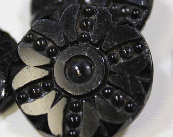 Black Glass Buttons 16 Antique Carved Black Glass Buttons Large Glass Buttons