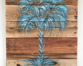 SC Palmetto Tree - Palm Tree - Wall Art - Available in Custom Sizes and Colors - Pallet Wood - Beachy Wall Art - Beachy Decor - Blue Tree