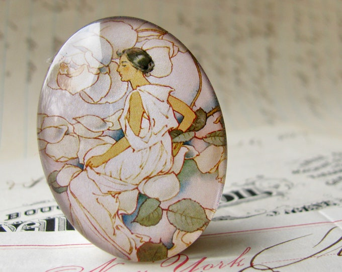 """Pastel """"Dream Roses"""" calendar page, 40x30mm 30x40mm, oval glass cabochon, handmade in this shop, woman in flowers, Art Nouveau collection"""