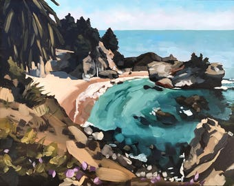 Big Sur Beach Seascape - McWay Falls - Original Oil Painting by Sharon Schock 11x14