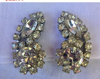 Heirloom Rhinestone Clip on Earrings Bridal Jewelry Mid Century Estate Jewelry