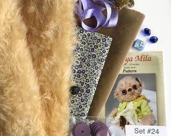 German mohair fabric, glass eyes, cotton batiste fabric liberty of london tana lawn, silk ribbon french lace, teddy bear pattern, set #24