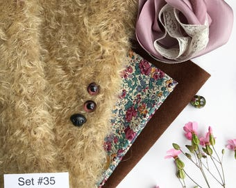 German mohair fabric, glass eyes, cotton batiste fabric liberty of london tana lawn, silk ribbon french lace, supplies for teddy, set #35