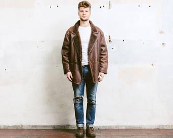 Mens Sheepskin Coat . Vintage 90s Sherpa Suede Coat Jacket Winter Leather Brown Overcoat Outerwear Long Jacket . size Large