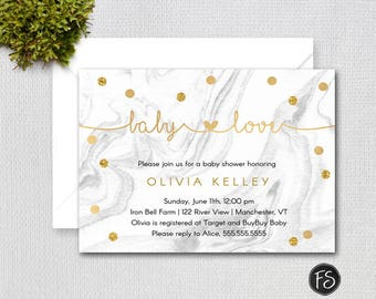 Baby Love Marble and Gold Confetti Printable Baby Shower Invitation, Printable Digital File, Item #1395