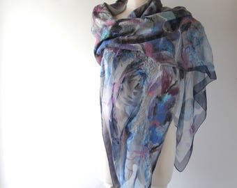 Nuno felted scarf, Blue felt scarf,  women silk scarf , Floral Women shawl silk Rose  scarf wool silk shawl felted stole