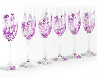 6 Hand-Painted Violet and Silver Bridesmaid Champagne Flutes - French Violet Pink Roses - Custom Bachelorette Gift
