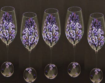 Bridesmaid's Champagne Glasses 5 x - Purple Lilacs- Hand-Painted Summer Wedding Party Gifts