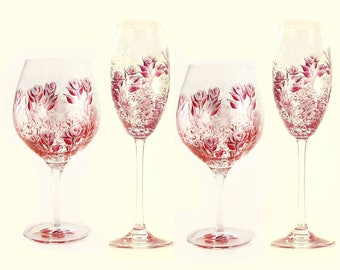 8 Piece Mix and Match Wedding Party Glasses - Choice of Stemware - Elegant Ruby Red, Silver Hand-Painted Roses - Alcohol Free Celebrations