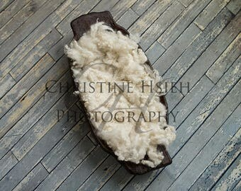 Newborn Digital Photography Simple Backdrop Trench Wooden Bowl Blue