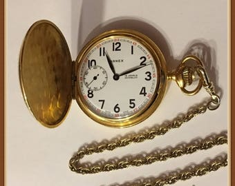 Vintage Pocket Watch, Arnex, Incabloc, Gold Tone, 15 Jewel, Swiss Made, Military Time, Keeps Accurate Time, 1970's
