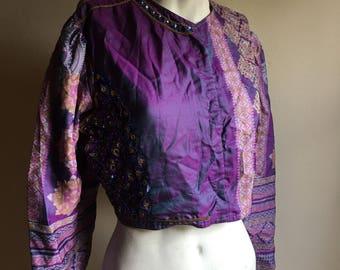 70s Indian Purple IKAT Sequins Vintage Silk Jacket Top