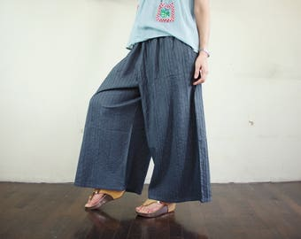 Boho Chic Comfy Oversize Pintuck Charcoal Gray Cotton Muslin Wide Leg Pants With 2 Inseam Pockets Freesize Pants