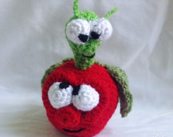 Amigurumi Apple And Worm, Crochet Apple, Teacher Gift, Stuffed Apple