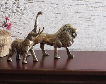 "vintage - home decor - 2 Vintage Ornate Solid Brass ""Safari"" Figurines - brass Lion and Elephant"