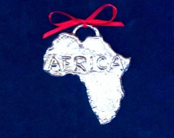 Pewter Africa Ornament