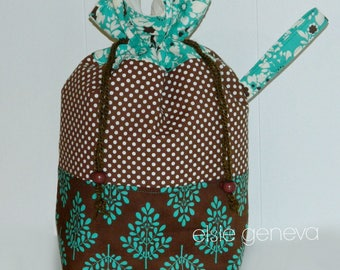 Large Project Drawstring Bag Wristlet Custom Order or Teal Brown Floral Black Green Butterflies or Choose  Any Fabric in My Shop