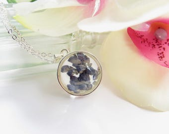 Dried Lavender Necklace, Pressed Real Flower Pendant In Silver Plate, Flower Pressed Between Glass