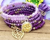 Purple Memory Wire Wrap Bracelet, February Birthday Gift for Her, Chunky Boho Bead Bracelet, Gift from Boyfriend, Best Friend Sister Gift,