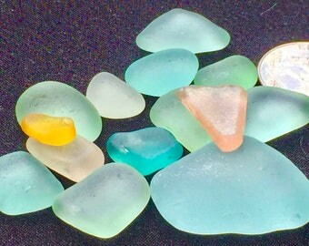 A-Sea Beach Glass of Hawaii beaches YELLOW! TURQUOISE! Aqua! PINK Genuine Sea Glass! Bulk Sea Glass! Seaglass