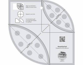 Round Up Tool - Creative Grids Quilting Tool - CGRATK1 - Non-Slip Ruler - Orange Peel Template