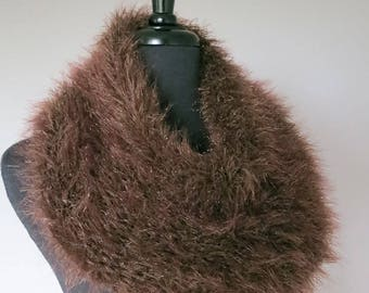 HOLIDAY SALE - Outlander Inspired Faux Fur Knitted Capelet Brown Color Claire's Cowl Infinity Scarf
