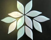 20pc. 38mm White TIFFANY Iridescent Stained Glass Petal Shaped Mosaic Tiles//Mosaic Supplies//Mosaic Pieces//Crafts