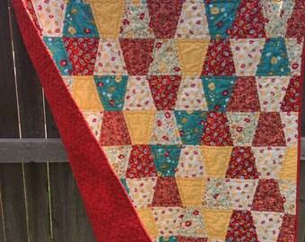 BIRTHDAY SALE - Laura's Quilt - Lap size; Patchwork; Tumbler