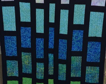 BIRTHDAY SALE - Changing Lanes Batik Lap Quilt - Rectangles - Modern - Blue and Black