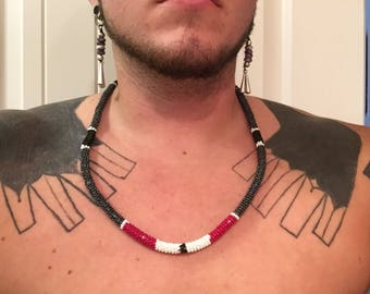 Native American Made Beaded necklace Brain tan leather