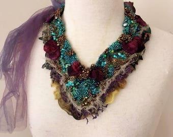 shabby chic necklace, gypsy princess beaded necklace, boho beaded neckpiece,  fairy textile necklace, festival beaded bib necklace