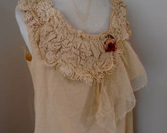 cotton dress, A line, medium size 12 - 14, vintage lace,  prairie dress, mori girl, boho, shabby chic dress