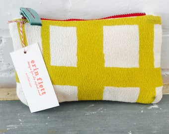 Golden Rod Geometric Plaid zipped card holder, Ready To Ship Now