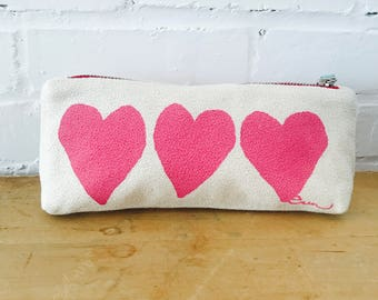 Pink Heart pencil zip, Ready To Ship Now