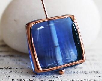 Handmade Glass Beads - Czech Lampwork Beads - Czech Glass Beads - Jewelry Making Supply - 16mm Square Tile - Sapphire Blue - Choose Amount
