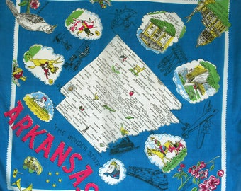 Mid century souvenir scarf from Arkansas. Novelty scarf, large silk blend scarf, teal scarf, US states, flowers, tourist destinations, white