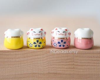 10 beads- Porcelain Lucky Cat beads 13mm, Ceramic Maneki Neko, Drilled with Large Hole, Pink Yellow Kawaii Cat-(80131)