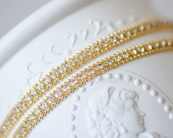 Gold plate Brass Rhinestone Chains 5mm, Sparkly Clear Crystal Decorative Flat Chains (#GB-124)/ 1 Meter=3.3 ft