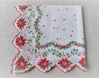 Vintage Christmas Handkerchief, Ladies Cotton Linen Holiday Hankie with Poinsettias and Holly, Vintage Tea Napkin, ECS, FREE Shipping