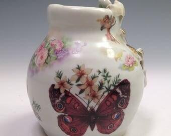 Deco Darling Vase, Porcelain, Gold Lustre, White, Butterfly Cherubs and Flowers Boho Chic