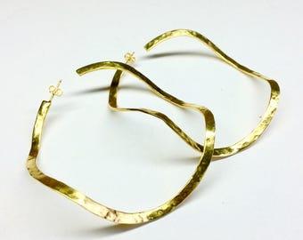 gold large hoop earrings,handmade round hoops statement earrings statement hoops gold plated hammered large hoop earrings boho earrings